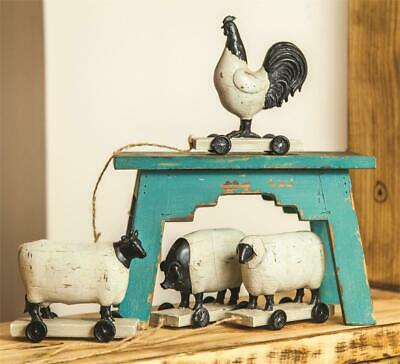 £39.75 • Buy Farm Animal Pull Toy Set Of 4 Primitive Rooster Cow Pig Sheep