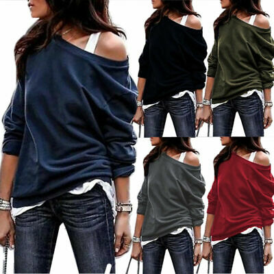 £12.29 • Buy Ladies Off The Shoulder Jumper Loose Slouch Tops Oversized Blouse Baggy Sweate