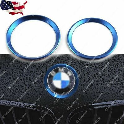 $11.88 • Buy 2x Blue Car Front Rear Logo Ring Decoration For BMW 3 4 Series M3 M4