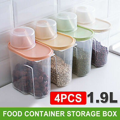 4X Large Cereal Dispenser Dry Food Pasta Rice Storage Container Box /& Lids 4L