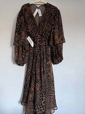 Topshop Midi Dress Size 10 Leopard Print / Floral Brown And Black New With Tags • 18.99£
