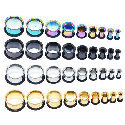 $6.39 • Buy Pair Single Flare Flesh Tunnels W/O-rings Surgical Stainless Ear Plugs Gauges