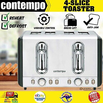 AU44.27 • Buy  4 Slice Toasters Stainless Steel Wide Slot Variable Browning Cancel Reheat AU