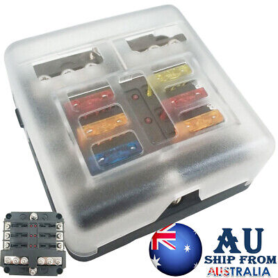 AU19.29 • Buy 6 Way Blade Fuse Box 19PC Block Holder Indicator LED Light 12V/32V Car Marine
