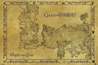 £7.75 • Buy GAME OF THRONES ANTIQUE MAP POSTER  91.5x61CM OFFICIAL LICENSED MERCHANDISE