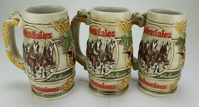 $ CDN49.98 • Buy Lot Of 3 -1983 Budweiser Clydesdale Beer Stein / Mug Glass Ceramarte
