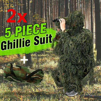 AU59.79 • Buy 2x 5Pcs Hunter Ghillie Suit Woodland Camouflage Hunting Archery/Sniper Clothing