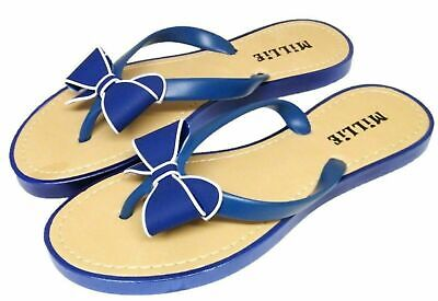 £7.99 • Buy Womens Navy Bow Flip Flops Millie Toe Post Mules Beach Sandals Holiday Sizes 3-8