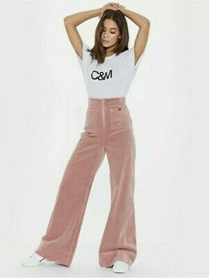 AU90 • Buy Alice Mccall Blush  Blusey  Cord Wide Leg High Waisted Jeans Size Aus 6. As New