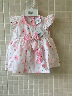 £8.99 • Buy Spanish Style  Baby Girls Dress And Knickers Headband White Floral 6 - 9 Months