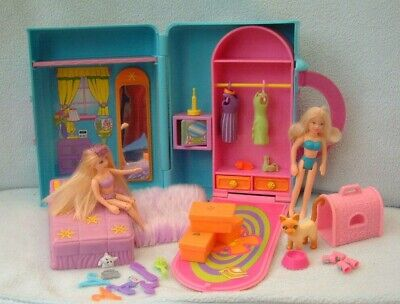 £14.99 • Buy Polly Pocket Bundle - SUPER STYLIN' BEDROOM Case - Rubber Clothes - Shoes - Cat