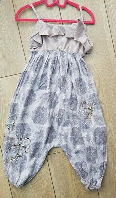 £5.50 • Buy Next Girls Trouser Suit Age 4 Years Jumpsuit Playsuit Summer Lilac Grey Sequin