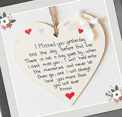 £2.94 • Buy I Missed You Yesterday Handmade Friendship Plaque Memory,Bereavement Gifts,