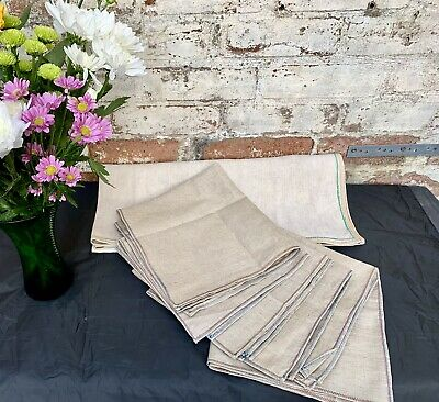 £40 • Buy Vintage French Linen Tablecloth And 6 Napkins Handmade Country Chic Thick