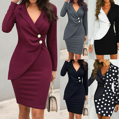 AU31.26 • Buy Women Turn Down Neck Long Sleeve Buttons Bodycon Casaul Formal Wrap Dress