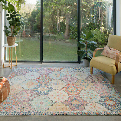 £24.95 • Buy Colourful Floral Geometric Rugs For Living Room Large Faded Muted Colour Mat NEW
