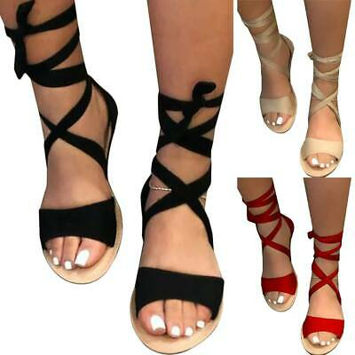 £14.72 • Buy Ladies Womens Sandals Tie Up Summer Casual Lace Up Flat Ankle Strappy Shoes Size