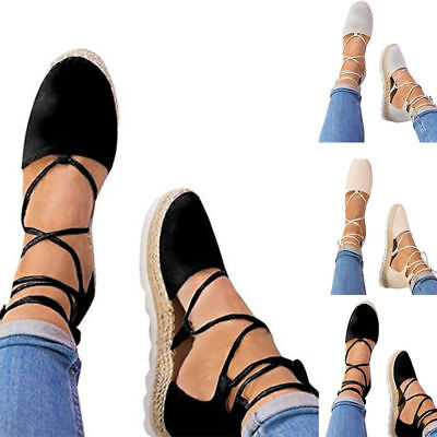 £17.38 • Buy Womens Ladies Flat Wedge Espadrille Lace Tie Up Ankle Strap Summer Sandals Shoes
