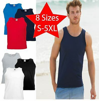 £4.99 • Buy Mens Fruit Of The Loom Vests 100% Cotton BodyBuilding Sleeveless Muscle Gym Trai