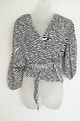 AU40.50 • Buy Sass & Bide 'feather Wrap' Black/white Patterned/cropped L/s Top…size 12…nwts...