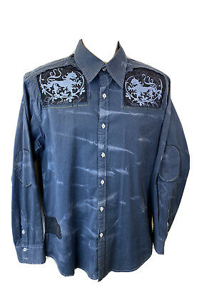 $25.98 • Buy Roar Mens Medium M Embroidered Fringe Long Sleeve Button Front Up Shirt Stretchy