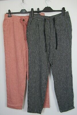 £12.99 • Buy New Next Linen Blend Tapered Striped Trousers Pink Black Size 8 - 22
