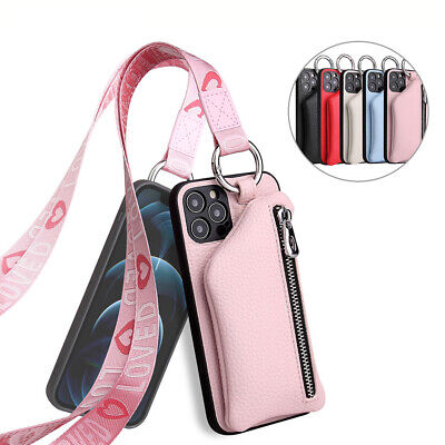 AU13.97 • Buy For IPhone 12 11 Pro Max XS XR 6 7 8 Girl's Leather Zipper Wallet Case W/ Strap