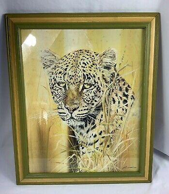$ CDN36.39 • Buy Vintage Signed Phil Prentice Framed Art Print Leopard Green And Yellow Frame