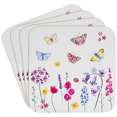 £3.35 • Buy Set Of 4 Coasters Butterfly Garden Floral Dining Coffee Table Mats