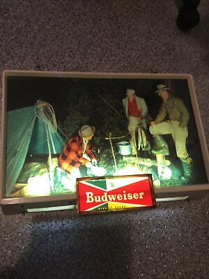 $ CDN812.37 • Buy Vintage Budweiser Lighted Sign Fishermen, Beer Advertising Collectible Camping