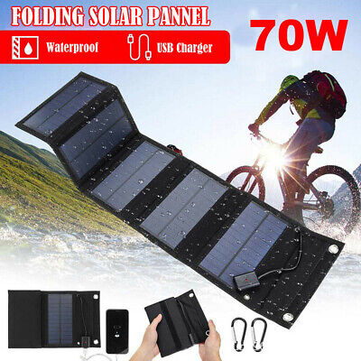£20.98 • Buy 70W USB Solar Panel Folding Power Charger Camping Travel Phone Charger Portable