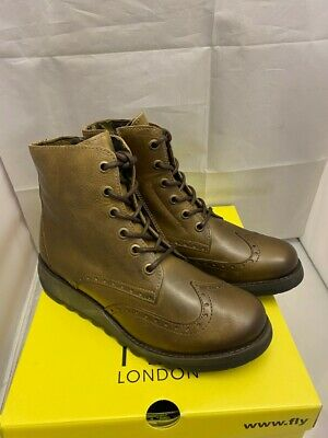 Womens FLY LONDON SARL Brown Leather Wedge Heeled Lace Zip Up Boots Size Uk 8 41 • 41.08£