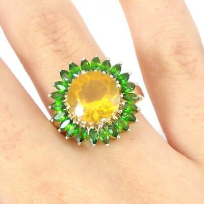 £130.89 • Buy Mexican Fire Opal Chrome Diopside Flower Halo 10K Yellow Gold Ring Size 7.5 LHI2