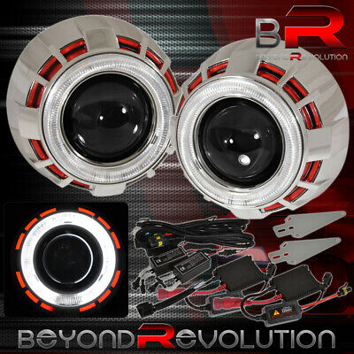 $86.99 • Buy For Nissan Retrofit Headlights Projector H1 Mini Red White Halo Ring Ccfl