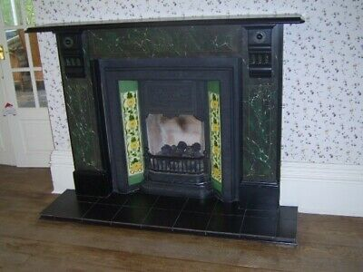 £395 • Buy Victorian Cast Iron Fireplace Hand Painted Tile Black Slate Surround Can DELIVER