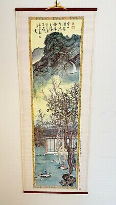 Vintage Chinese Scroll Wall Hanging Landscape Oriental Arts  33 Ins Long • 29.99£