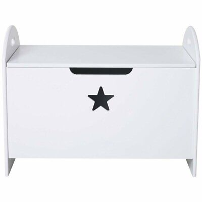Large Wooden Toy Box White Star Chest Storage Unit Toys Children Nursery Bedroom • 37.49£