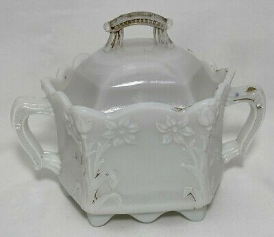 $24.95 • Buy White Milk Glass Covered Sugar Trinket Dish Paint Double Handle Flower Pattern