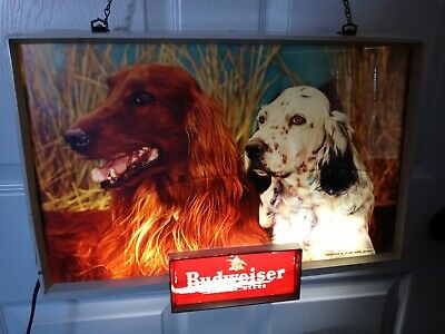 $ CDN531.10 • Buy Vintage 1950's Budweiser King Of Beers Dogs Lighted Sign 14  X 20  Hunting Retro