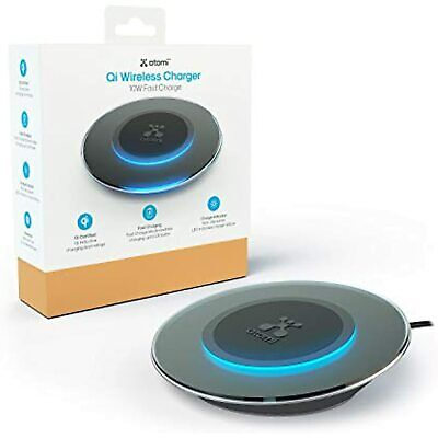 $ CDN14.31 • Buy Atomi Qi Wireless Charger Black 10W Charging Pad Compatible W/ IPhone Android
