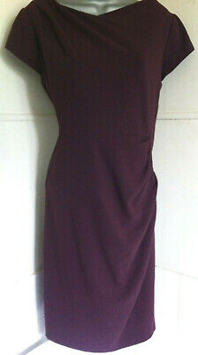 AU64.29 • Buy LK Bennett Sabrina Burgundy Stretch Pencil Dress Cap Sleeve Fully Lined Pleats14