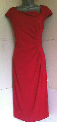 AU76.79 • Buy LK Bennett Davina Ruched Red Stretch Crepe Bodycon Pencil Dress Fully Lined 14