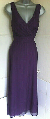 AU58.93 • Buy LK.BENNETT100%silk Purple Dress Pleated Bodice Full Skirt Silk Lining 14