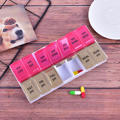 AU11.28 • Buy Large 7 Day Twice Daily (AM,PM) Pill Box Medicine Organiser With 14 Compartme;SP