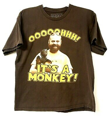 £12 • Buy The Hangover T-Shirt Mens Large Brown Alan Oooh A Monkey Ripple Junction