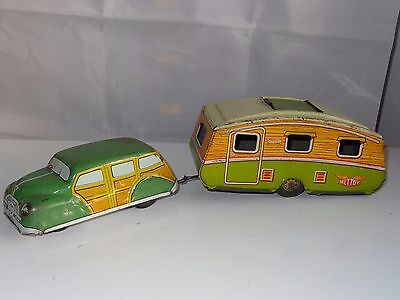 £159.94 • Buy Mettoy Tinplate Lithographed CAR AND CARAVAN With Sunroof - Old