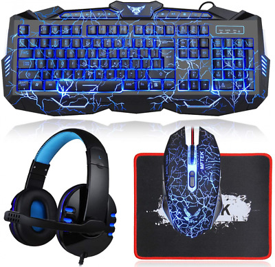 AU86.92 • Buy Gaming Keyboard And Mouse Combo With Headset, Blue