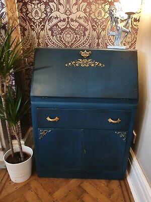 Upcycled Bureau Gin Cabinet Teal Blue And Gold  • 150£