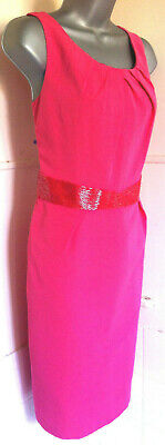 AU58.06 • Buy LK Bennett Silk/Cotton Mix Coral Pink Tailored Beaded Sleeveless Shift Dress14