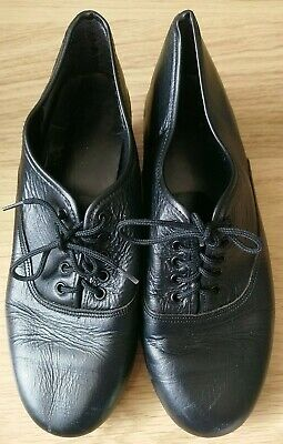 Dance Black Leather Lace Up Tap Shoes Size 4 • 1.50£